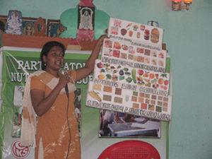 Miss.Souzaane explaining about importance of nutrition