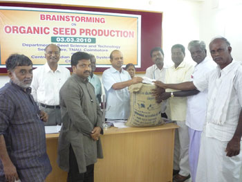 Release of certified organic seeds at TNAU, Coimbatore
