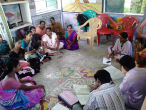 Discussion meeting with women group members